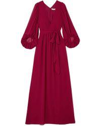Halston - Fortuny Plissé-chiffon Gown - Lyst