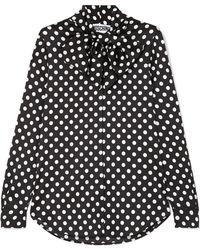 Moschino - Pussy-bow Polka-dot Charmeuse Blouse - Lyst