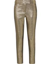 Rachel Zoe - Skyla Grosgrain-trimmed Metallic Croc-effect Jacquard Slim-leg Trousers - Lyst