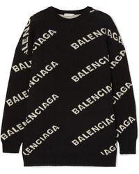 e6e24d85e Balenciaga - Intarsia Knitted Sweater - Lyst