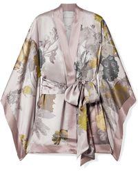 Carine Gilson - Floral-print Silk-satin Robe - Lyst