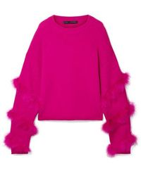 d7174994600e Sally Lapointe - Feather-trimmed Silk And Cashmere-blend Jumper - Lyst