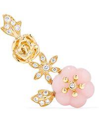 Yvonne Léon - Ohrring Aus 18 Karat Gold Mit Diamanten Und Opal - Lyst