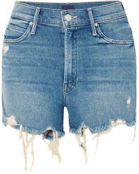 Mother - Rascal Distressed Denim Shorts - Lyst