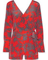 Diane von Furstenberg - Wrap-effect Printed Silk Crepe De Chine Playsuit - Lyst