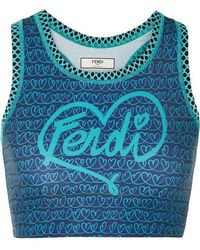 Fendi - Printed Mesh-paneled Stretch Sports Bra - Lyst