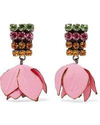 Marni - Boucles d'oreilles clippées à pendants fleurs - Lyst