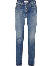 Balenciaga - Distressed Mid-rise Straight-leg Jeans - Lyst