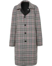 Burberry | Reversible Gabardine And Checked Wool Coat | Lyst