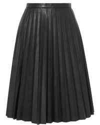 J.Crew - Pleated Faux Leather Midi Skirt - Lyst