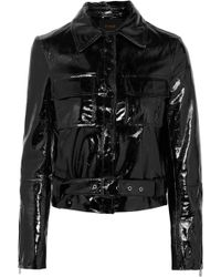 Maje - Cropped Patent-leather Jacket - Lyst