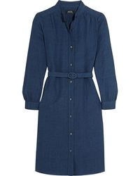 A.P.C. - Belted Linen And Cotton-blend Shirt Dress - Lyst