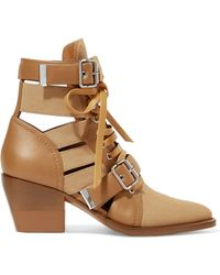 Chloé - Rylee Cutout Leather And Canvas Ankle Boots - Lyst