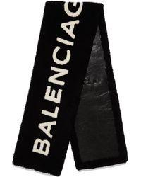 Balenciaga - Schal Aus Shearling Mit Intarsienmotiv - Lyst