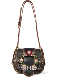 Miu Miu | Dahlia Embellished Leather Shoulder Bag | Lyst