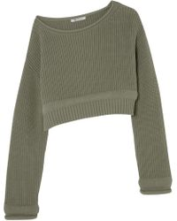 T By Alexander Wang - Cropped Off-the-shoulder Cotton-blend Jumper - Lyst