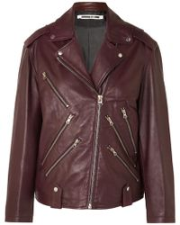 McQ - Oversized Leather Biker Jacket - Lyst