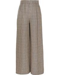 Brunello Cucinelli - Houndstooth Linen Wide-leg Pants - Lyst