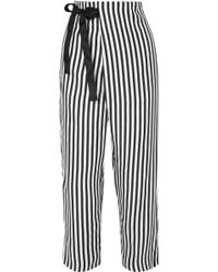 J.Crew - Okinawa Striped Wide-leg Silk-twill Wrap Trousers - Lyst