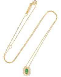 Suzanne Kalan - 18-karat Gold, Emerald And Diamond Necklace - Lyst