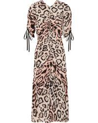 Alice McCALL - Animale Ruched Leopard-print Silk Crepe De Chine Midi Dress - Lyst