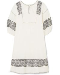 The Great - The Lovely Embroidered Cotton-gauze Dress - Lyst