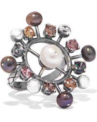 Bottega Veneta - Oxidized Silver, Crystal And Pearl Ring - Lyst
