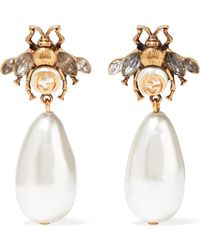 Gucci - Gold-plated, Crystal And Faux Pearl Earrings - Lyst