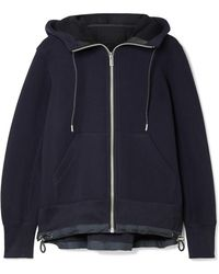 Sacai - Shell-trimmed Cotton-blend Hooded Top - Lyst