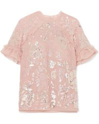 Needle & Thread - Tulle-trimmed Sequin-embellished Georgette Blouse - Lyst