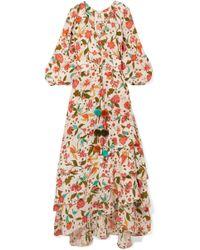 Figue - Frederica Tasselled Printed Silk Crepe De Chine Maxi Dress - Lyst