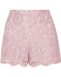 Valentino | Scalloped Metallic Corded Lace Shorts | Lyst