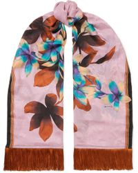 Etro - Fringed Floral-print Silk-jacquard Scarf - Lyst