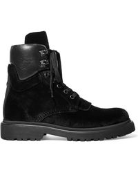 Moncler - Patty Leather-trimmed Velvet Ankle Boots - Lyst