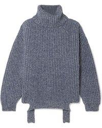 Balenciaga - Ribbed Mélange Wool Turtleneck Sweater - Lyst