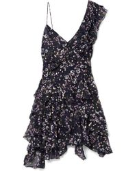 Isabel Marant - Manda Floral-print Metallic Fil Coupé Silk-blend Mini Dress - Lyst