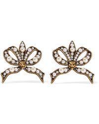 Gucci   Gold-tone Faux Pearl Earrings   Lyst