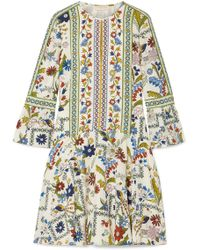 Tory Burch - Daphne Printed Silk Mini Dress - Lyst