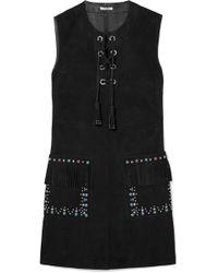 Miu Miu - Lace-up Embellished Suede Mini Dress - Lyst