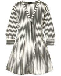 Theory - Striped Stretch Cotton-blend Poplin Mini Dress - Lyst