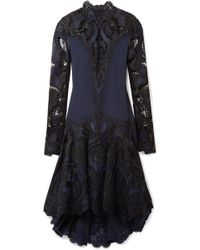 Jonathan Simkhai - Asymmetric Crepe And Guipure Lace Dress - Lyst