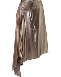 Givenchy - Asymmetric Lamé Midi Skirt - Lyst
