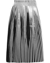 MM6 by Maison Martin Margiela - Pleated Metallic Faux Leather Midi Skirt - Lyst