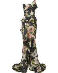 Marchesa - Bow-embellished Floral-print Silk-blend Moire Gown - Lyst