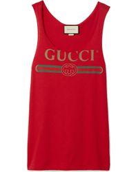 61445020c193c Lyst - Gucci Vintage Logo Print Tank Top in Pink