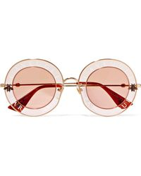 Gucci - Round-frame Printed Acetate And Gold-tone Sunglasses - Lyst