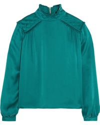 Balmain - Washed-silk Blouse - Lyst