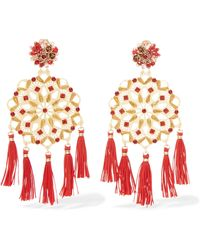 Mercedes Salazar - Tasseled Gold-plated, Crystal And Faux Pearl Clip Earrings Gold One Size - Lyst