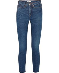 RE/DONE - Originals High-rise Ankle Crop Frayed Skinny Jeans - Lyst