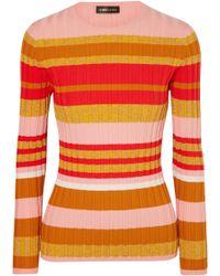 Stine Goya - Leonor Metallic Striped Ribbed-knit Sweater - Lyst